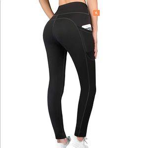 Pants - High Waisted Yoga Pants w Pockets - Small / Medium